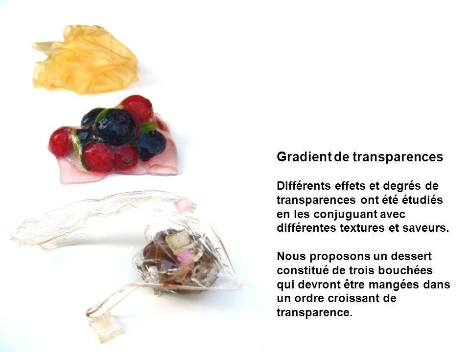 Gradient de transparences Différents effets et degrés de transparences ont été étudiés en les conjuguant avec différentes textures et saveurs. Nous pr