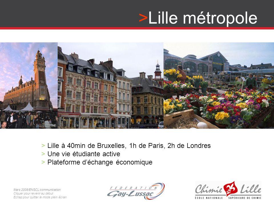 Lille métropole > Lille à 40min de Bruxelles, 1h de Paris, 2h de Londres > Une vie étudiante active > Plateforme déchange économique Mars 2008/ENSCL c