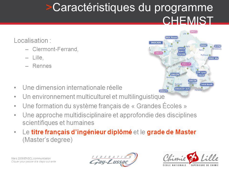 Caractéristiques du programme CHEMIST Une dimension internationale réelle Un environnement multiculturel et multilinguistique Une formation du système