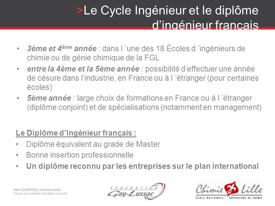 Le Cycle Ingénieur et le diplôme dingénieur français 3ème et 4 ème année : dans l une des 18 Écoles d ingénieurs de chimie ou de génie chimique de la