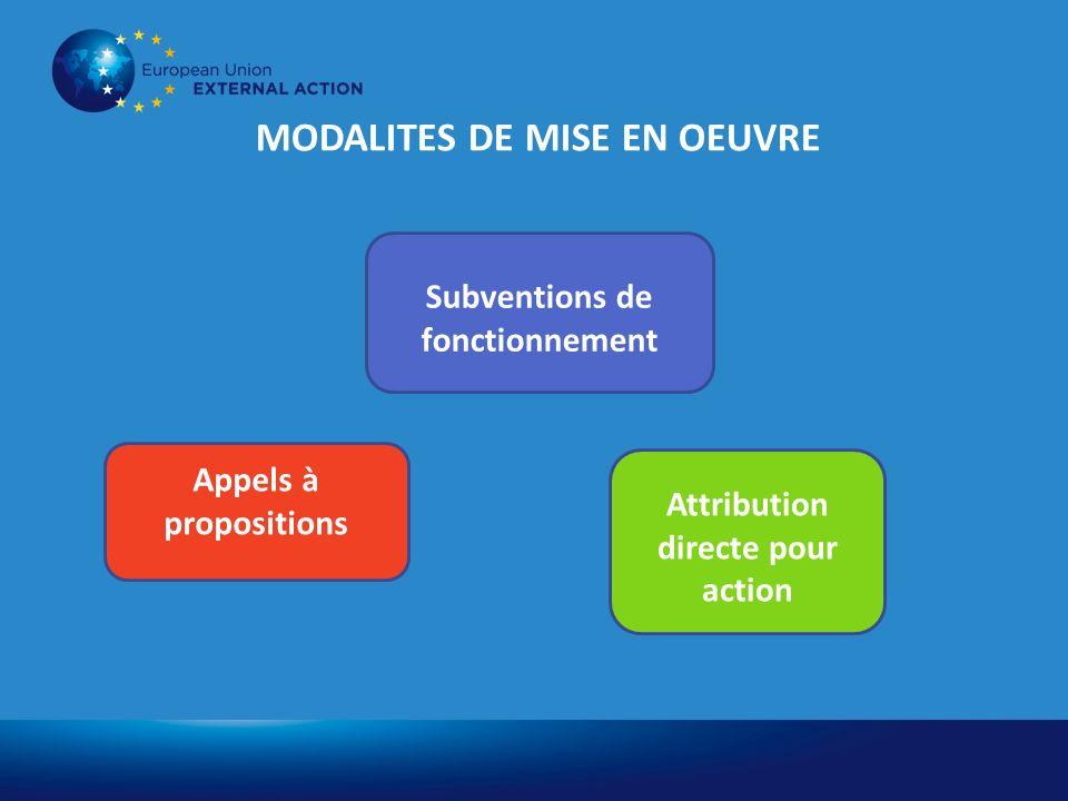MODALITES DE MISE EN OEUVRE Appels à propositions Attribution directe pour action Subventions de fonctionnement