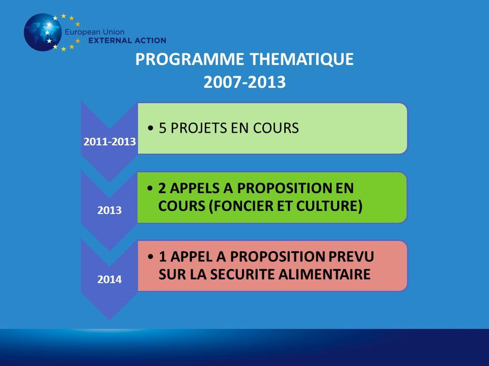 PROGRAMME THEMATIQUE 2007-2013 2011-2013 5 PROJETS EN COURS 2013 2 APPELS A PROPOSITION EN COURS (FONCIER ET CULTURE) 2014 1 APPEL A PROPOSITION PREVU SUR LA SECURITE ALIMENTAIRE