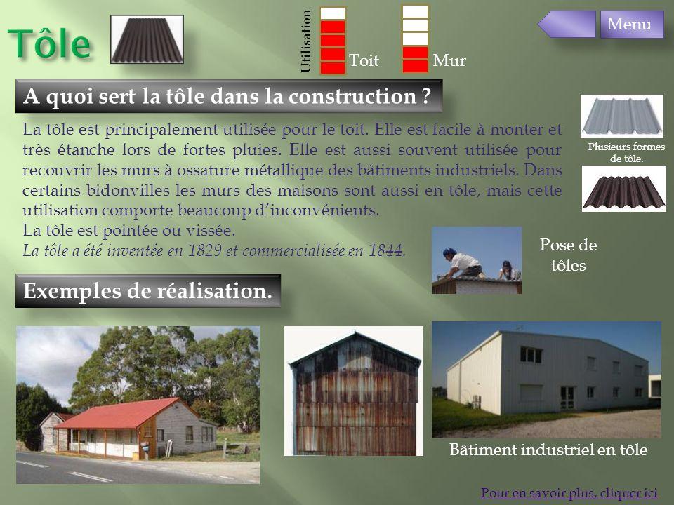 Exemples de réalisation. A quoi sert la tôle dans la construction ? Pour en savoir plus, cliquer ici La tôle est principalement utilisée pour le toit.