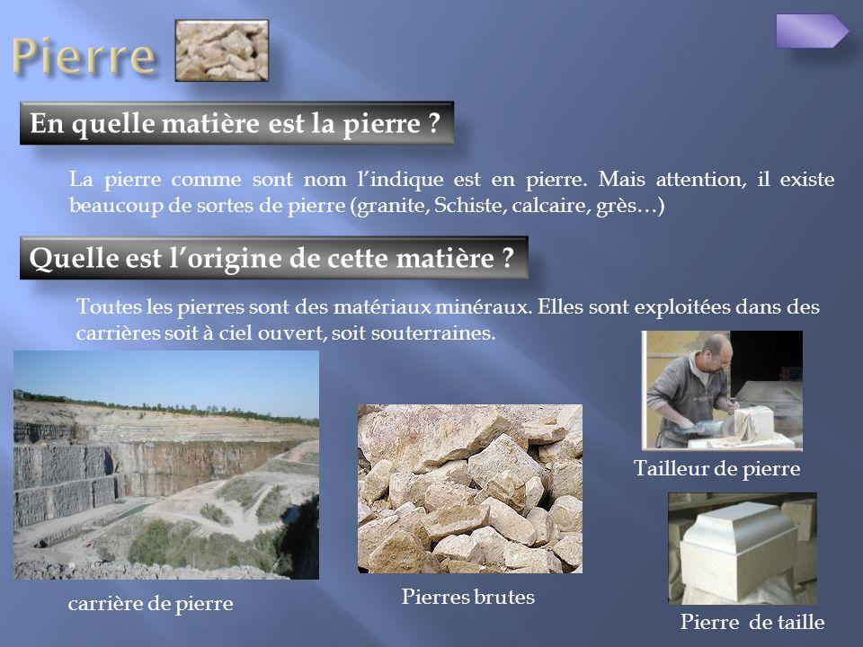 Quelle est lorigine de cette matière ? En quelle matière est la pierre ? La pierre comme sont nom lindique est en pierre. Mais attention, il existe be
