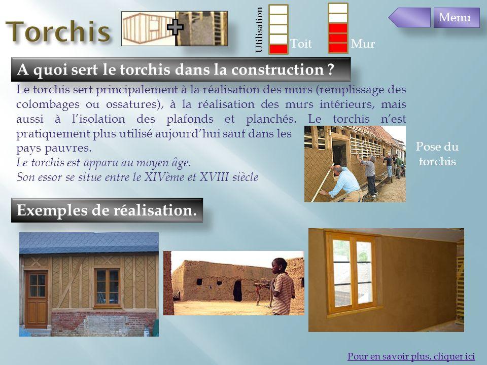 Exemples de réalisation. A quoi sert le torchis dans la construction ? Pour en savoir plus, cliquer ici Le torchis sert principalement à la réalisatio