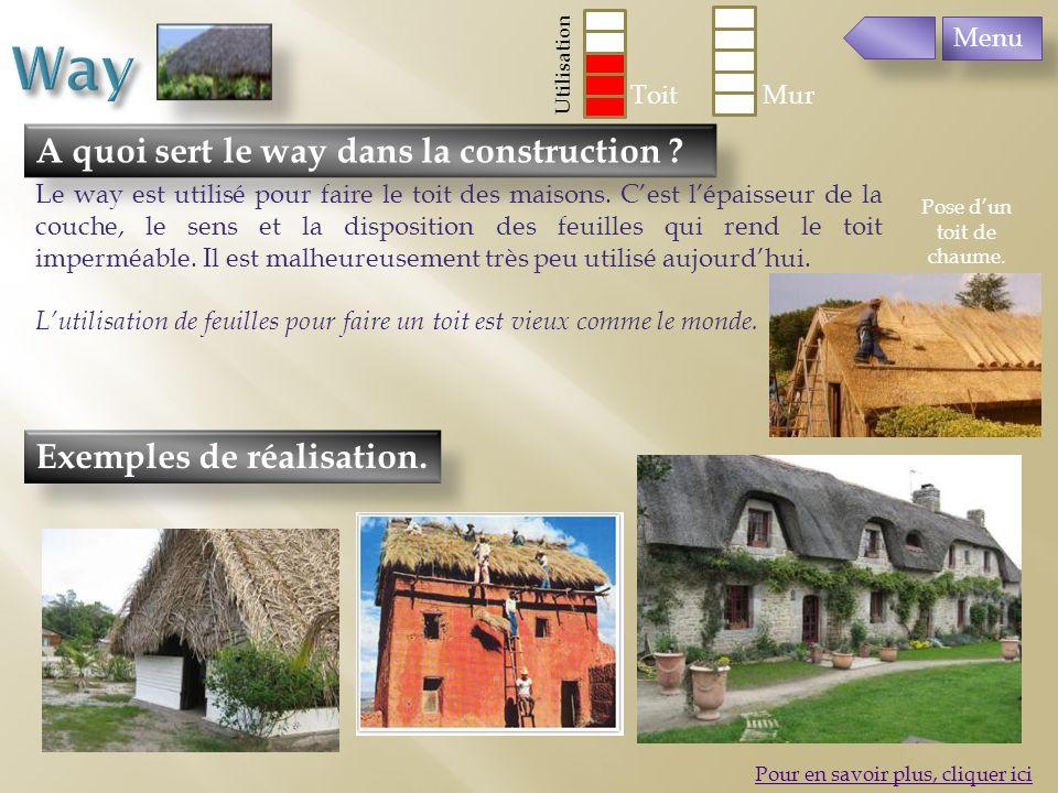 Exemples de réalisation. A quoi sert le way dans la construction ? Le way est utilisé pour faire le toit des maisons. Cest lépaisseur de la couche, le