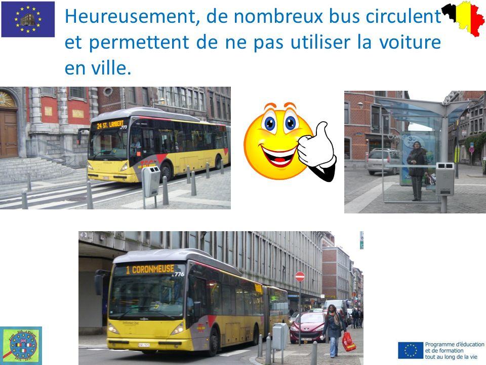 Heureusement, de nombreux bus circulent et permettent de ne pas utiliser la voiture en ville.