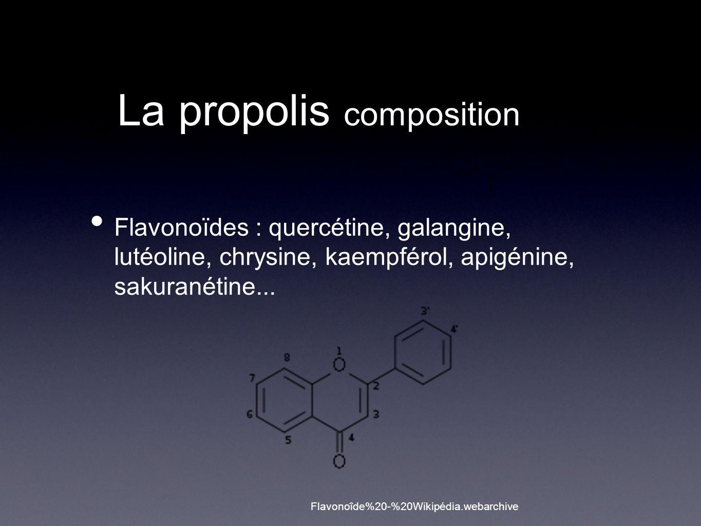 La propolis composition Flavonoïdes : quercétine, galangine, lutéoline, chrysine, kaempférol, apigénine, sakuranétine...