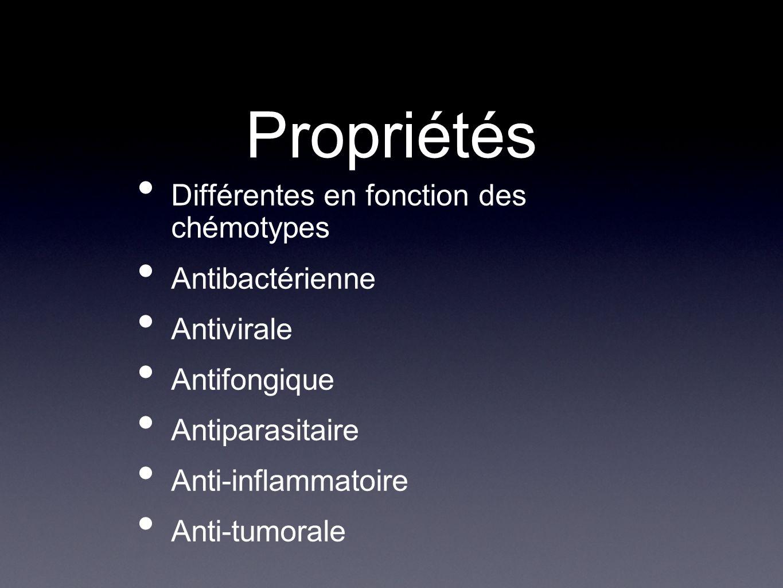 Propriétés Différentes en fonction des chémotypes Antibactérienne Antivirale Antifongique Antiparasitaire Anti-inflammatoire Anti-tumorale