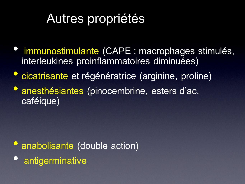 Autres propriétés immunostimulante (CAPE : macrophages stimulés, interleukines proinflammatoires diminuées) cicatrisante et régénératrice (arginine, proline) anesthésiantes (pinocembrine, esters dac.