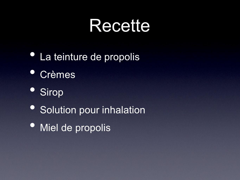 Recette La teinture de propolis Crèmes Sirop Solution pour inhalation Miel de propolis