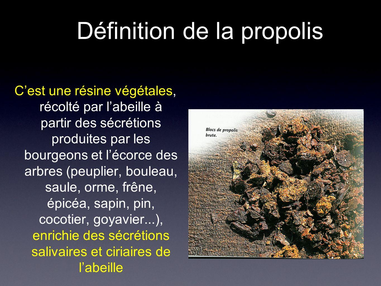 Rôle de la propolis pour labeille= armure Pro = devant, Polis = la ville - Réduction de l entrée de la ruche - Boucher les trous et fixer les pièces mobiles - tapisser lintérieur de la ruche - aseptiser les alvéoles ( pollen, levain, lactobacille) - éviter le développement de maladies - isoler un cadavre ( limaces, mulots), pas de putréfaction Remarque : une ruche : 40000-60000 individus, 100000 entrés par jour, T =35°, humidité 70%, haute teneur en sucre