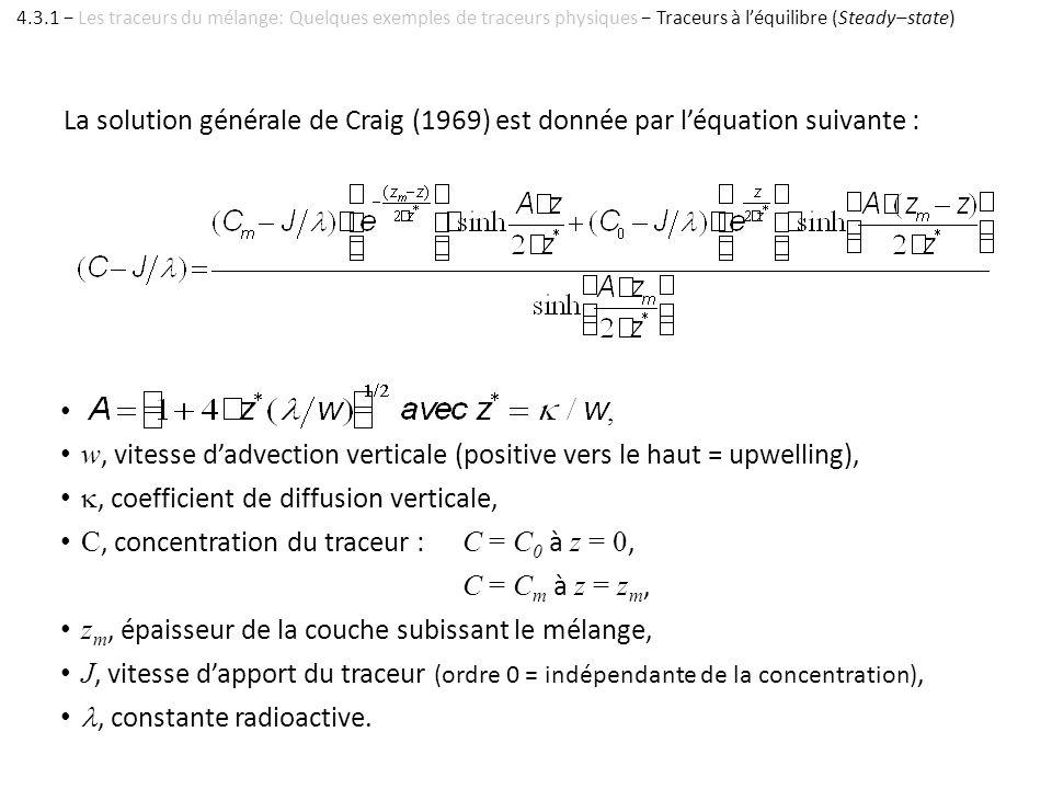 La solution générale de Craig (1969) est donnée par léquation suivante :, w, vitesse dadvection verticale (positive vers le haut = upwelling),, coeffi