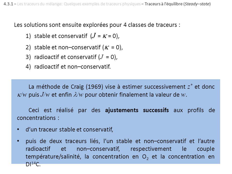 Les solutions sont ensuite explorées pour 4 classes de traceurs : 1)stable et conservatif ( J = = 0), 2)stable et non–conservatif ( = 0), 3)radioactif