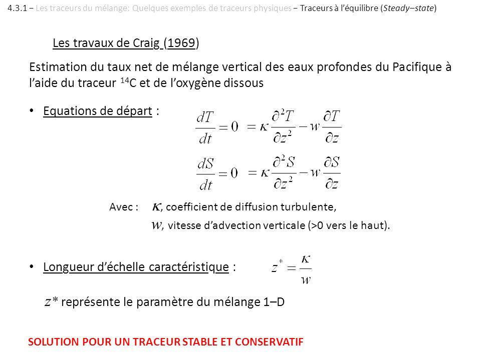 Les travaux de Craig (1969) Equations de départ : Estimation du taux net de mélange vertical des eaux profondes du Pacifique à laide du traceur 14 C e