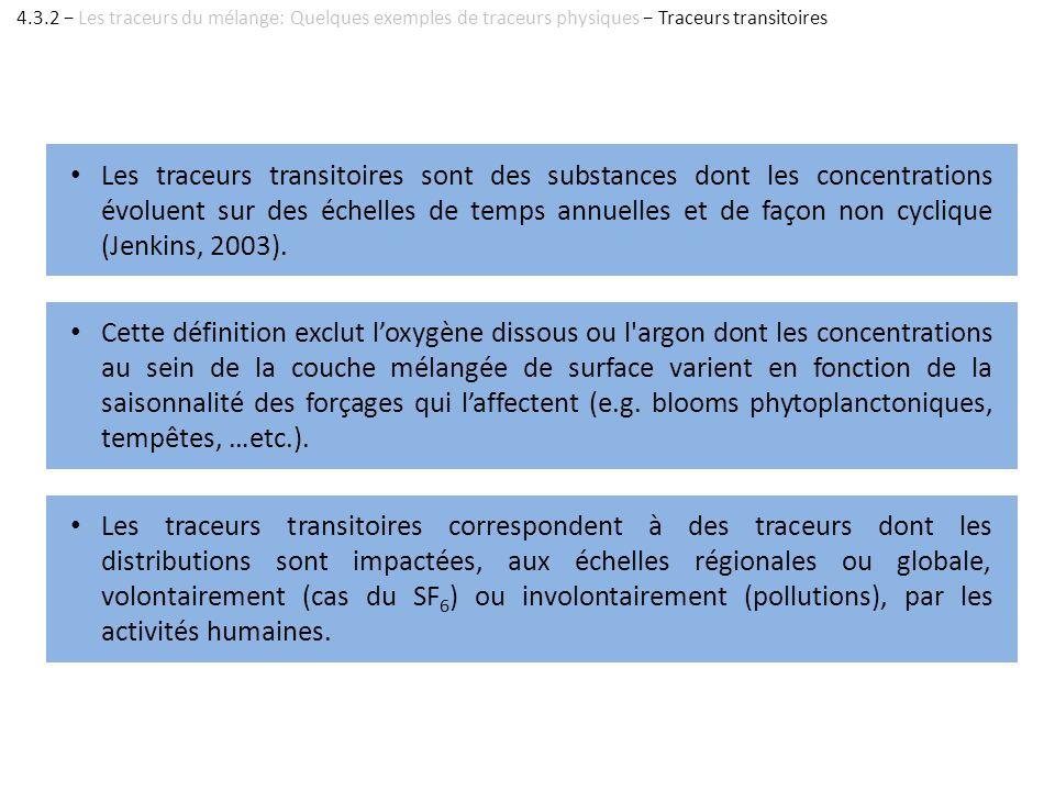 Les traceurs transitoires sont des substances dont les concentrations évoluent sur des échelles de temps annuelles et de façon non cyclique (Jenkins,