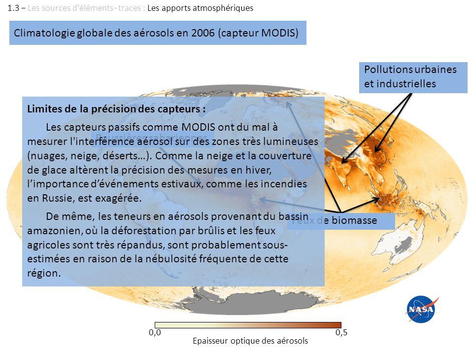 Climatologie globale des aérosols en 2006 (capteur MODIS) 1.3 Les sources délémentstraces : Les apports atmosphériques Epaisseur optique des aérosols