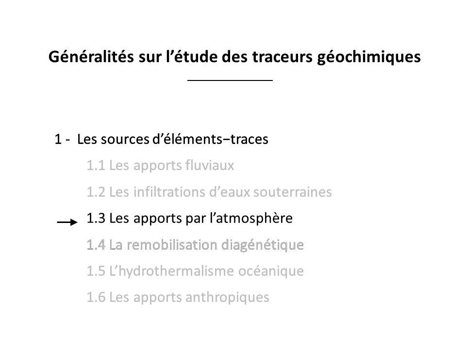 1 -Les sources délémentstraces 1.1 Les apports fluviaux 1.2 Les infiltrations deaux souterraines 1.3 Les apports par latmosphère 1.4 La remobilisation