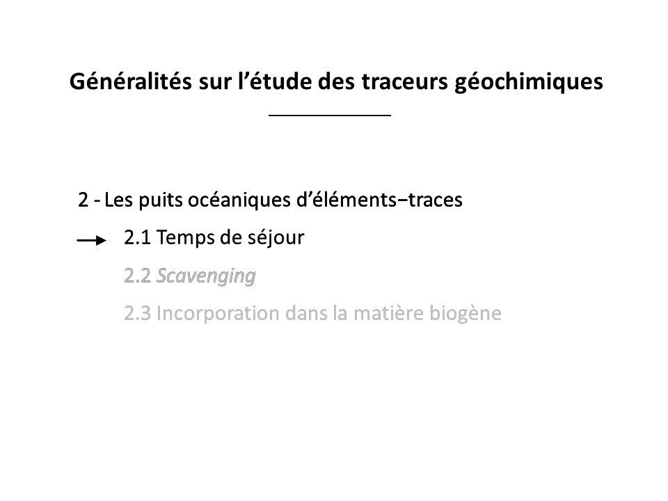 2 -Les puits océaniques délémentstraces 2.1 Temps de séjour 2.2 Scavenging 2.3 Incorporation dans la matière biogène 2 -Les puits océaniques déléments