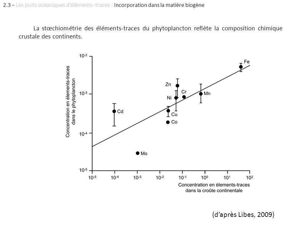 La stœchiométrie des éléments-traces du phytoplancton reflète la composition chimique crustale des continents. (daprès Libes, 2009) 2.3 Les puits océa