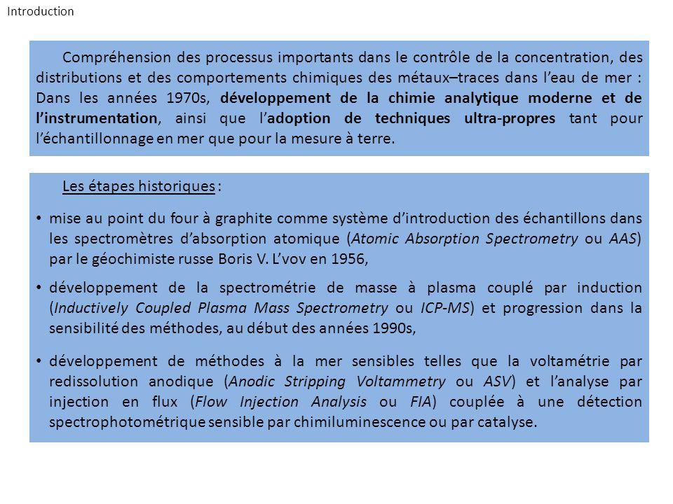 Introduction Compréhension des processus importants dans le contrôle de la concentration, des distributions et des comportements chimiques des métaux–