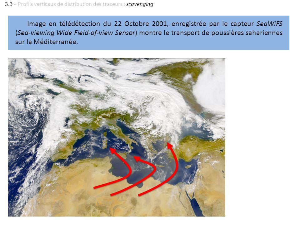 Image en télédétection du 22 Octobre 2001, enregistrée par le capteur SeaWiFS (Sea-viewing Wide Field-of-view Sensor) montre le transport de poussière
