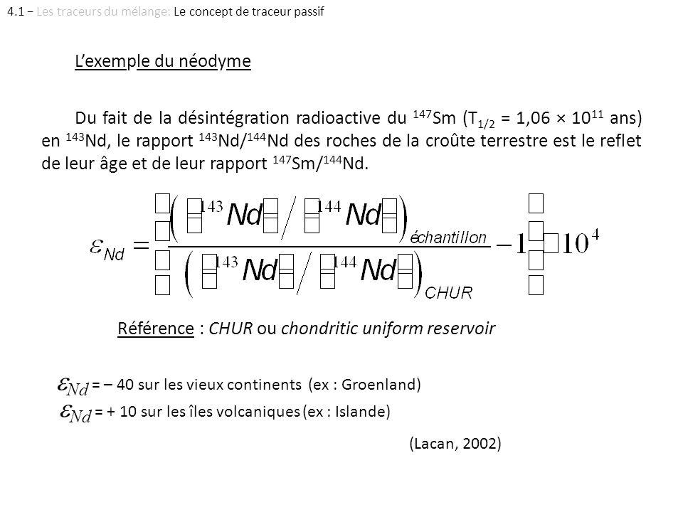 Lexemple du néodyme Du fait de la désintégration radioactive du 147 Sm (T 1/2 = 1,06 × 10 11 ans) en 143 Nd, le rapport 143 Nd/ 144 Nd des roches de l