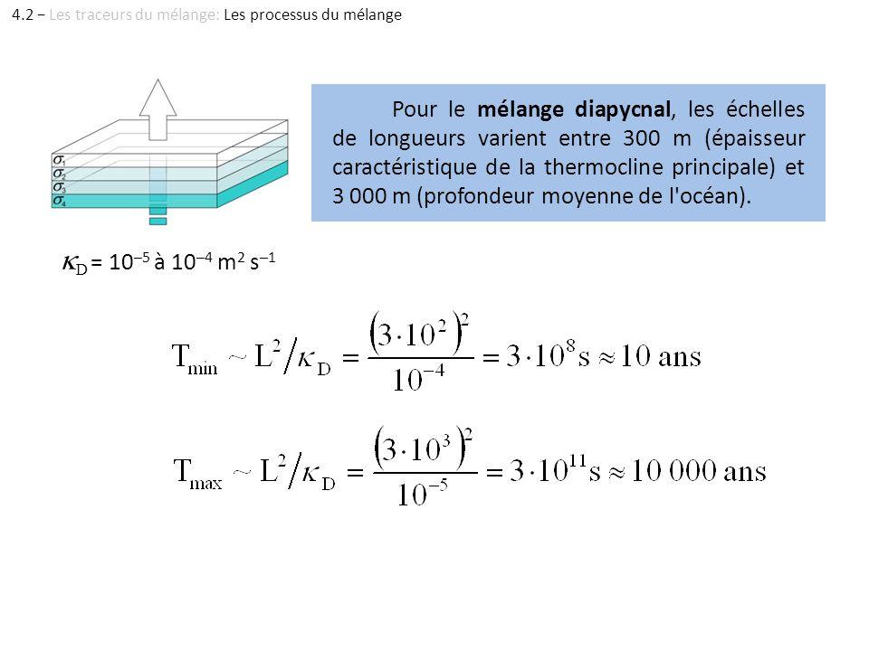 Pour le mélange diapycnal, les échelles de longueurs varient entre 300 m (épaisseur caractéristique de la thermocline principale) et 3 000 m (profonde
