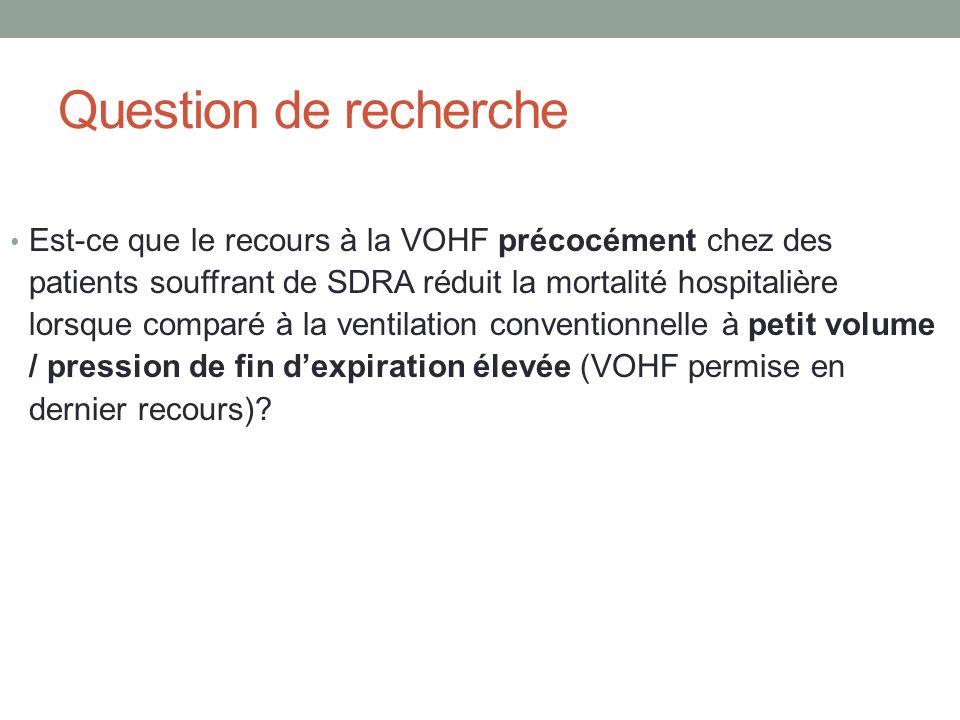 Question de recherche Est-ce que le recours à la VOHF précocément chez des patients souffrant de SDRA réduit la mortalité hospitalière lorsque comparé