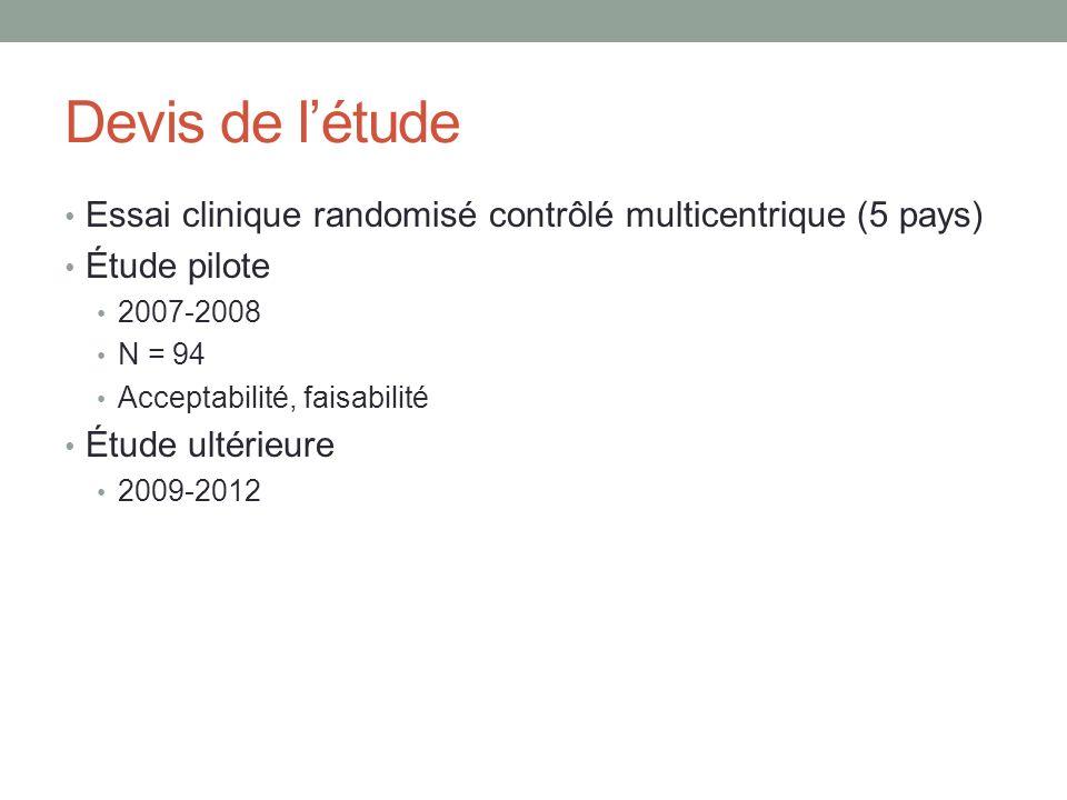 Devis de létude Essai clinique randomisé contrôlé multicentrique (5 pays) Étude pilote 2007-2008 N = 94 Acceptabilité, faisabilité Étude ultérieure 20