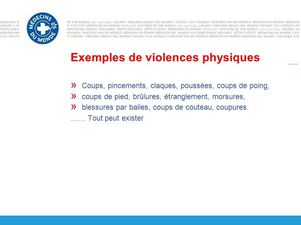 Exemples de violences physiques » Coups, pincements, claques, poussées, coups de poing, » coups de pied, brûlures, étranglement, morsures, » blessures par balles, coups de couteau, coupures.