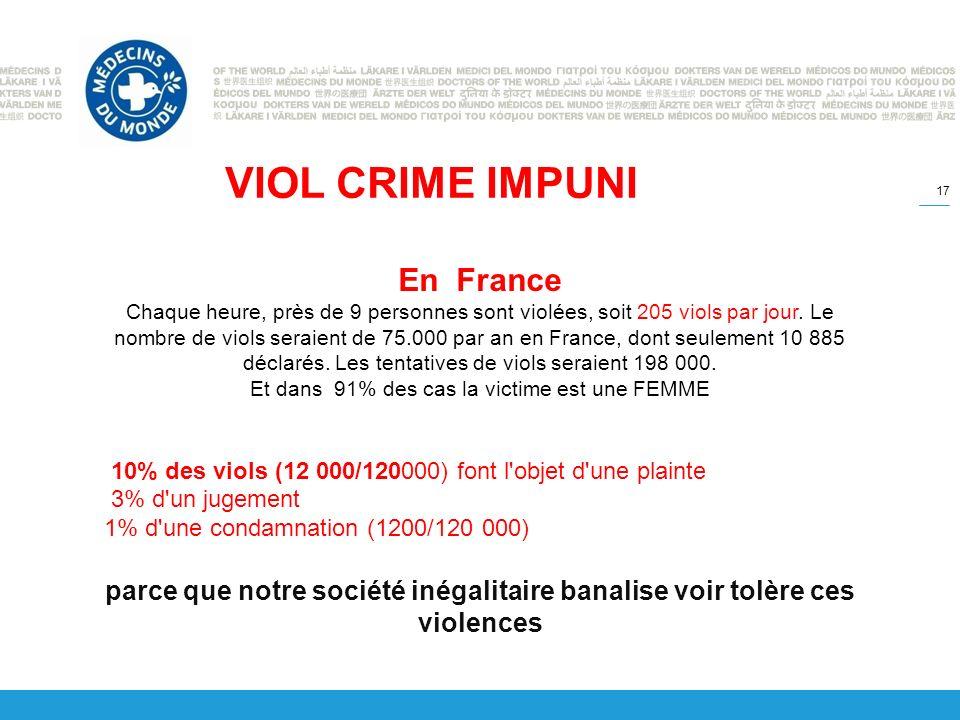 17 VIOL CRIME IMPUNI En France Chaque heure, près de 9 personnes sont violées, soit 205 viols par jour.