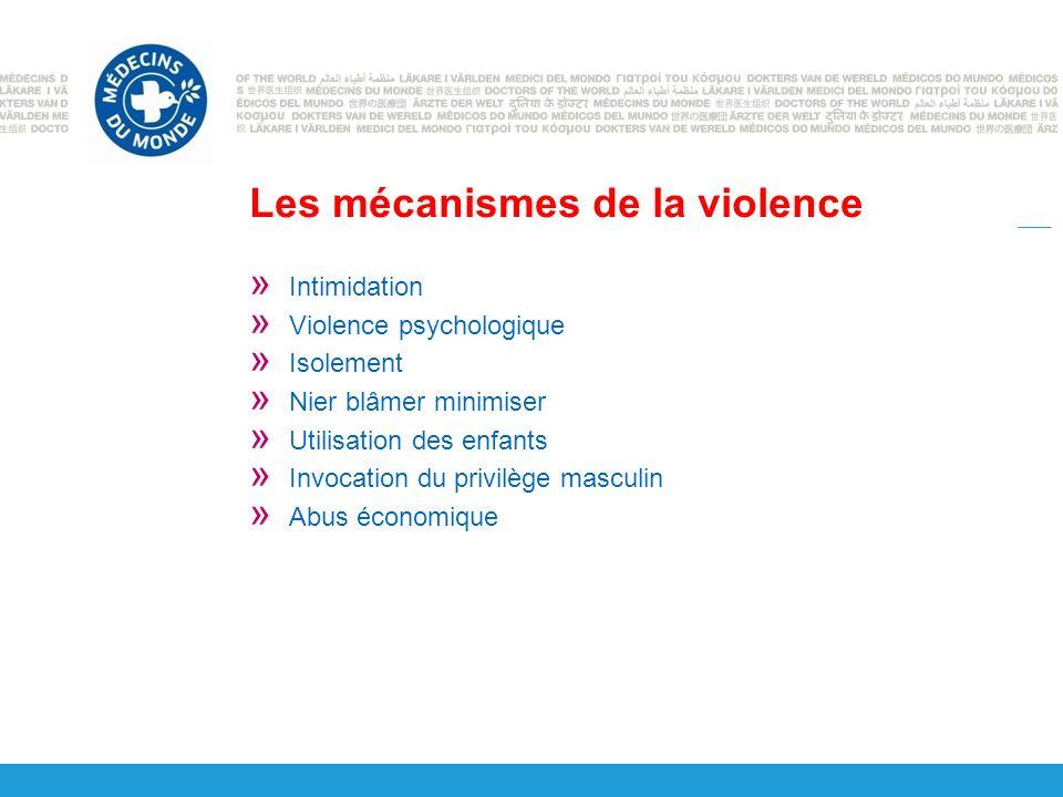 Les mécanismes de la violence » Intimidation » Violence psychologique » Isolement » Nier blâmer minimiser » Utilisation des enfants » Invocation du privilège masculin » Abus économique