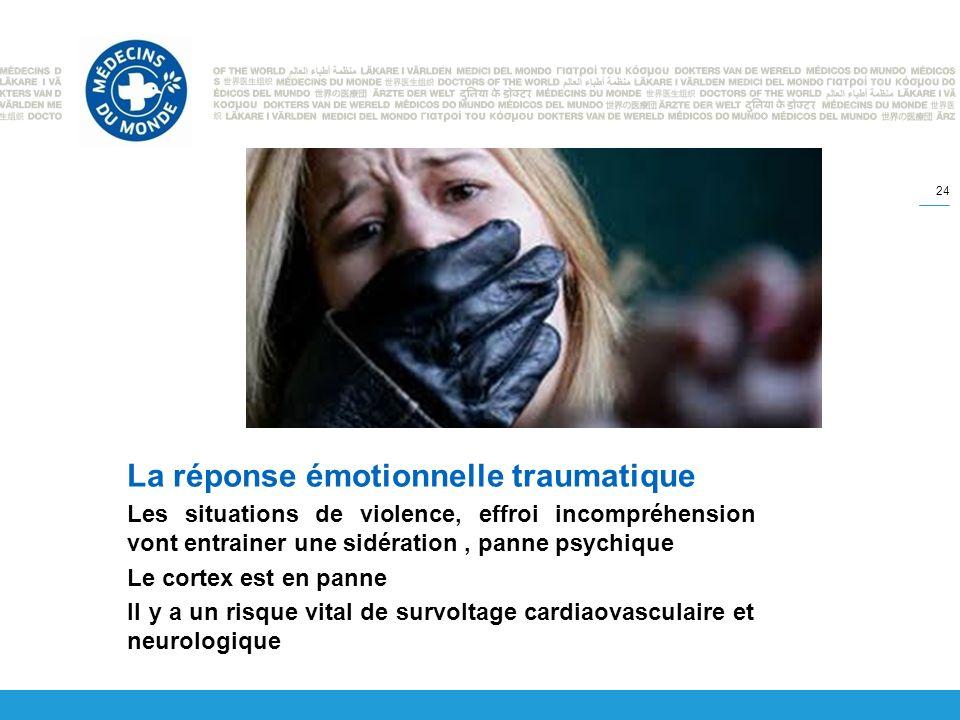 La réponse émotionnelle traumatique Les situations de violence, effroi incompréhension vont entrainer une sidération, panne psychique Le cortex est en panne Il y a un risque vital de survoltage cardiaovasculaire et neurologique 24