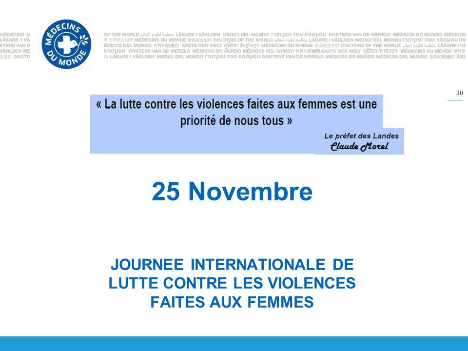 25 Novembre JOURNEE INTERNATIONALE DE LUTTE CONTRE LES VIOLENCES FAITES AUX FEMMES 30