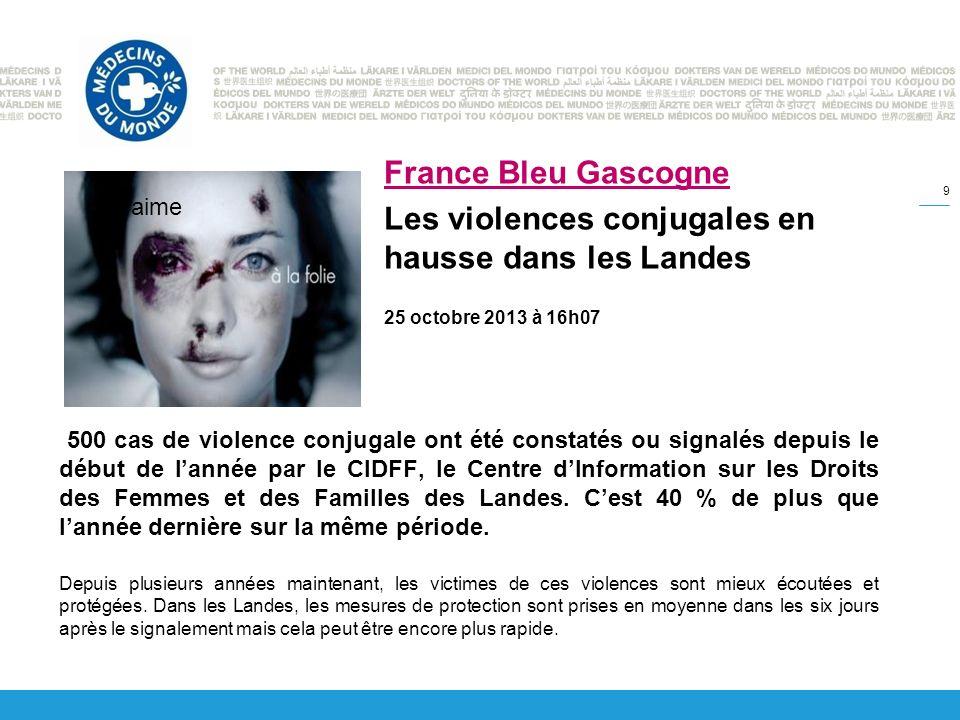 500 cas de violence conjugale ont été constatés ou signalés depuis le début de lannée par le CIDFF, le Centre dInformation sur les Droits des Femmes et des Familles des Landes.