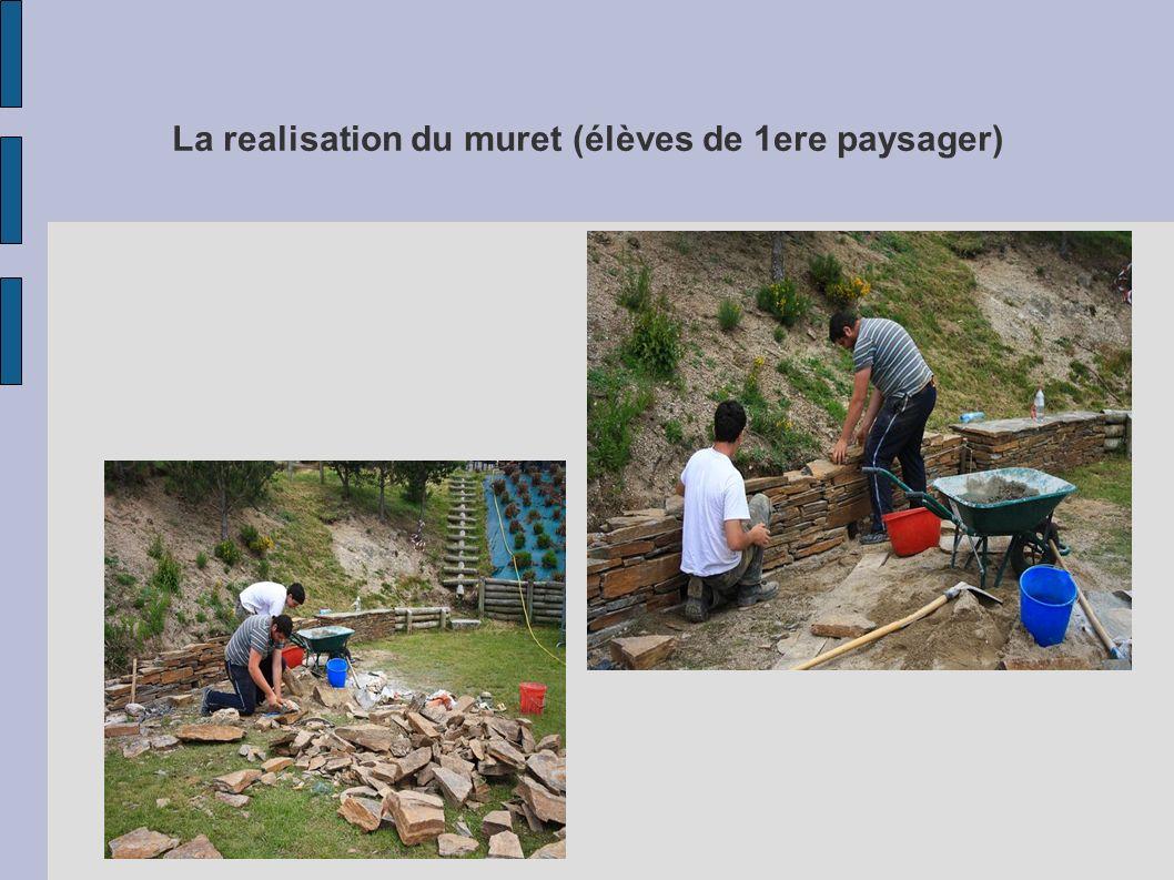 La realisation du muret (élèves de 1ere paysager)