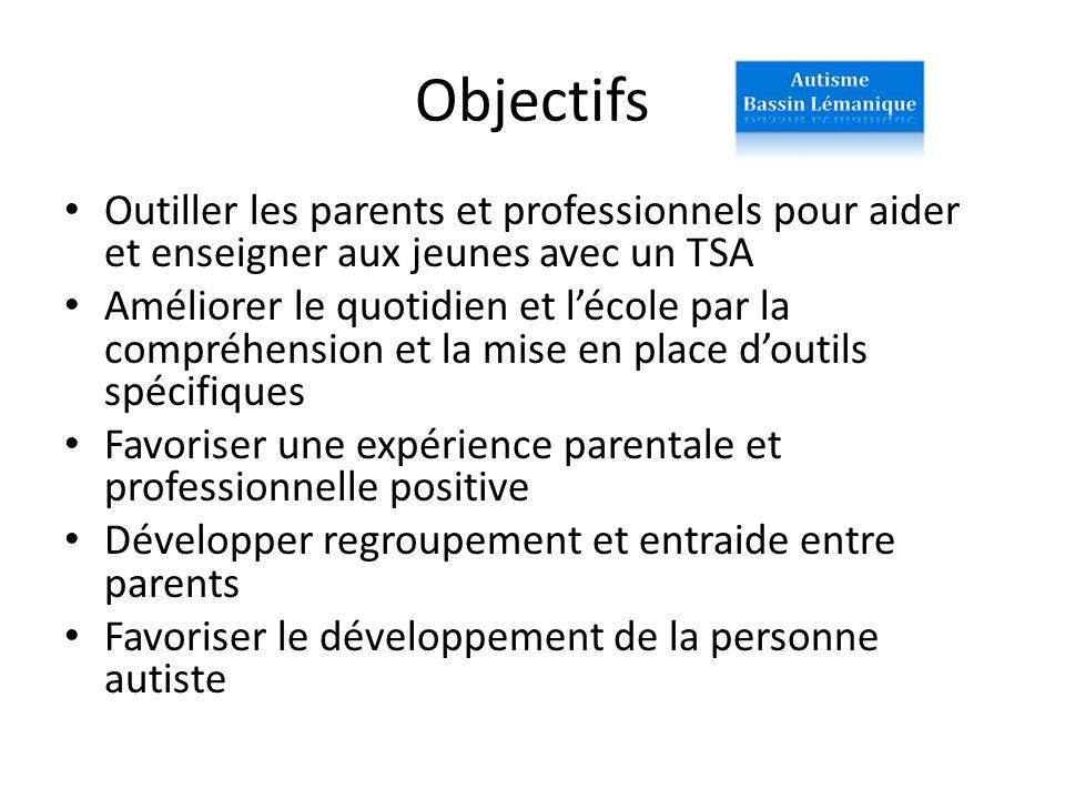 Objectifs Outiller les parents et professionnels pour aider et enseigner aux jeunes avec un TSA Améliorer le quotidien et lécole par la compréhension
