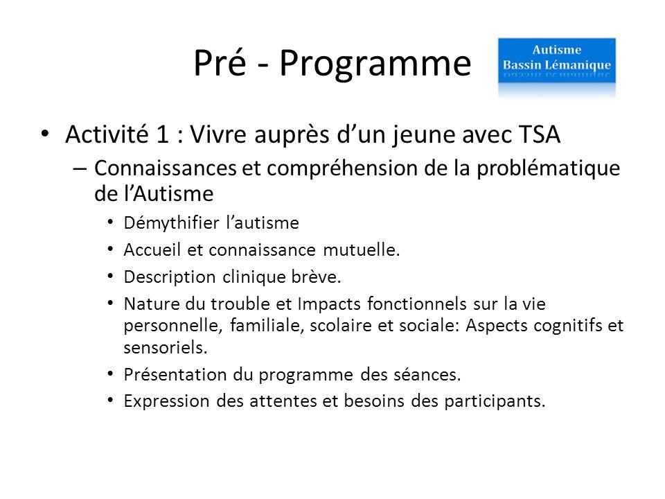 Pré - Programme Activité 1 : Vivre auprès dun jeune avec TSA – Connaissances et compréhension de la problématique de lAutisme Démythifier lautisme Acc