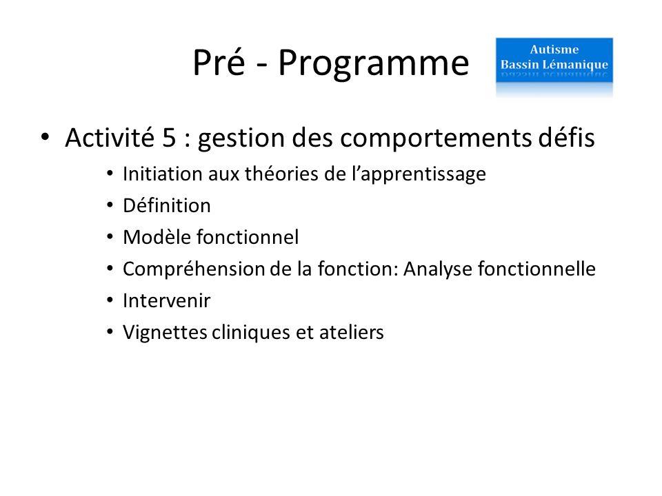 Pré - Programme Activité 5 : gestion des comportements défis Initiation aux théories de lapprentissage Définition Modèle fonctionnel Compréhension de