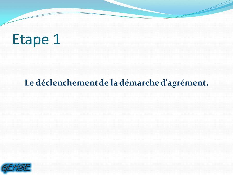 Etape 1 Le déclenchement de la démarche d agrément.
