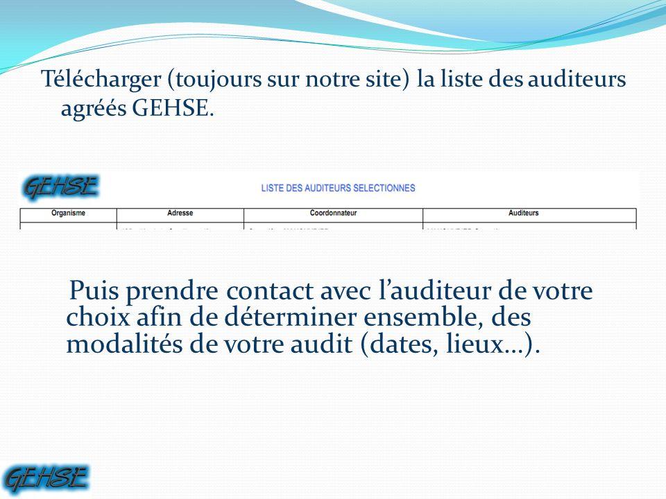 Télécharger (toujours sur notre site) la liste des auditeurs agréés GEHSE.