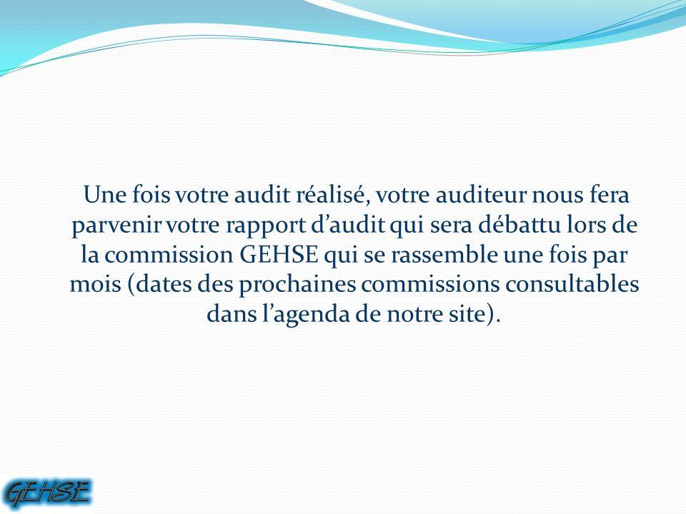 Une fois votre audit réalisé, votre auditeur nous fera parvenir votre rapport daudit qui sera débattu lors de la commission GEHSE qui se rassemble une fois par mois (dates des prochaines commissions consultables dans lagenda de notre site).