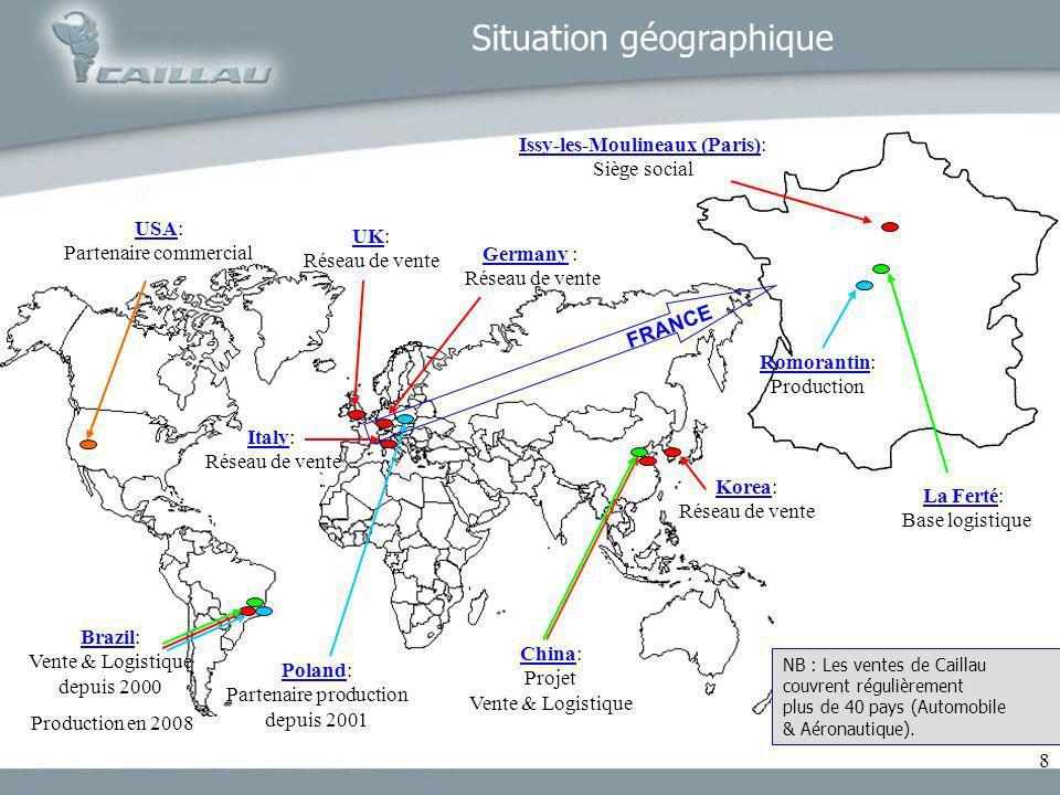 8 Situation géographique Brazil: Vente & Logistique depuis 2000 Production en 2008 Poland: Partenaire production depuis 2001 Issy-les-Moulineaux (Pari