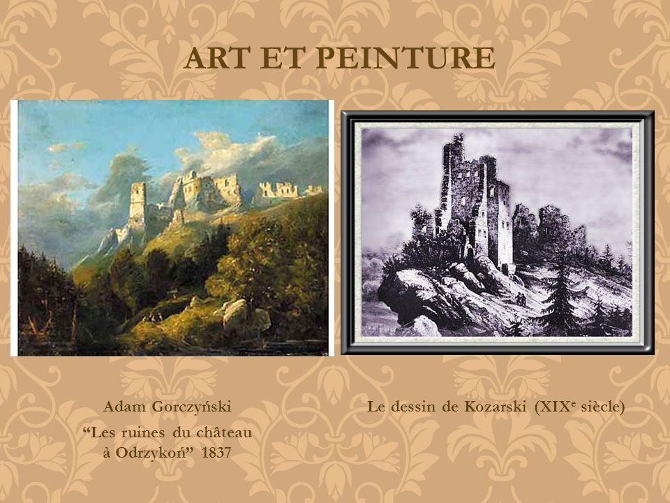 ART ET PEINTURE Adam Gorczyński Les ruines du château à Odrzykoń 1837 Le dessin de Kozarski (XIX e siècle)