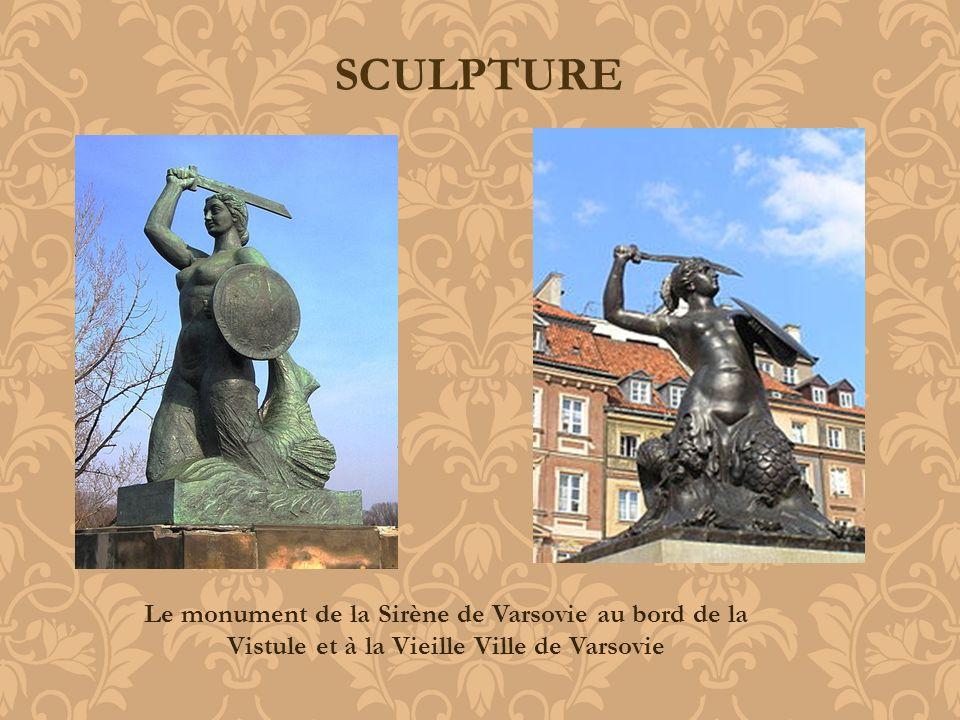 SCULPTURE Le monument de la Sirène de Varsovie au bord de la Vistule et à la Vieille Ville de Varsovie