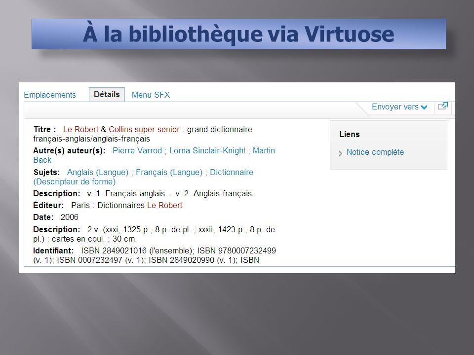 À la bibliothèque via Virtuose