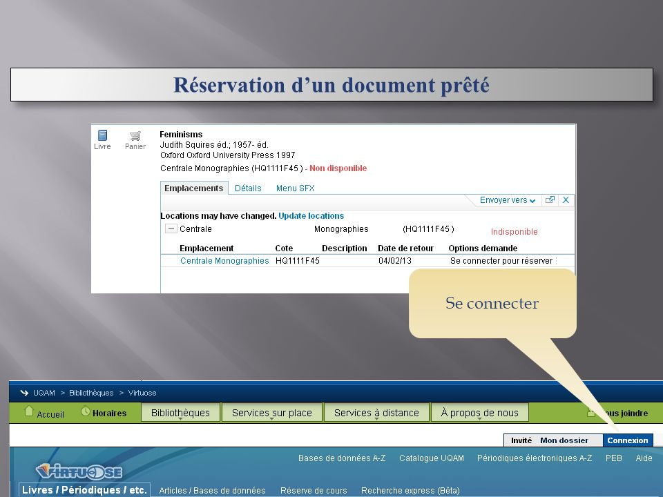 Réservation dun document prêté Se connecter