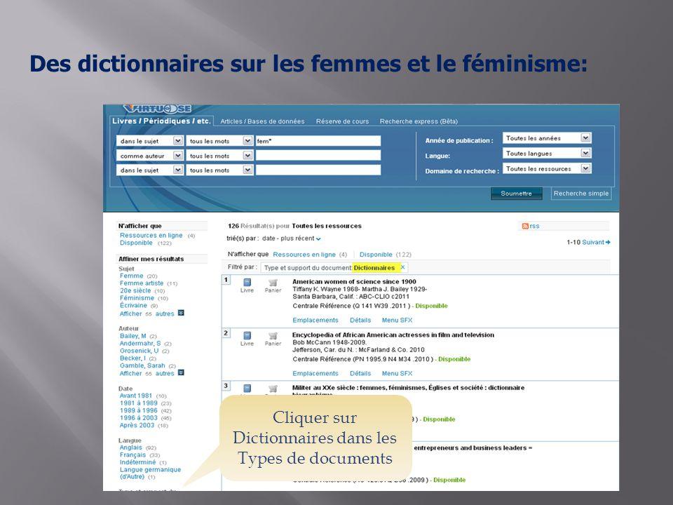 Des dictionnaires sur les femmes et le féminisme: Cliquer sur Dictionnaires dans les Types de documents