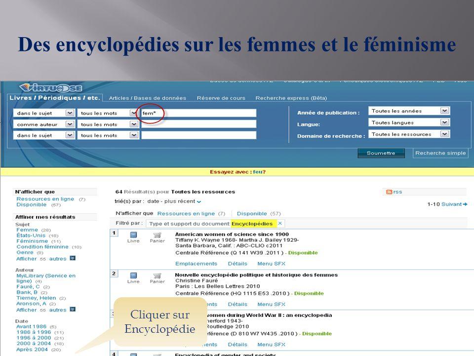 Des encyclopédies sur les femmes et le féminisme Cliquer sur Encyclopédie